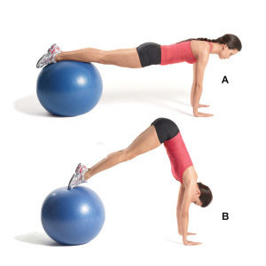 Stability Ball Pushup and Jackknife-GymMembershipFees